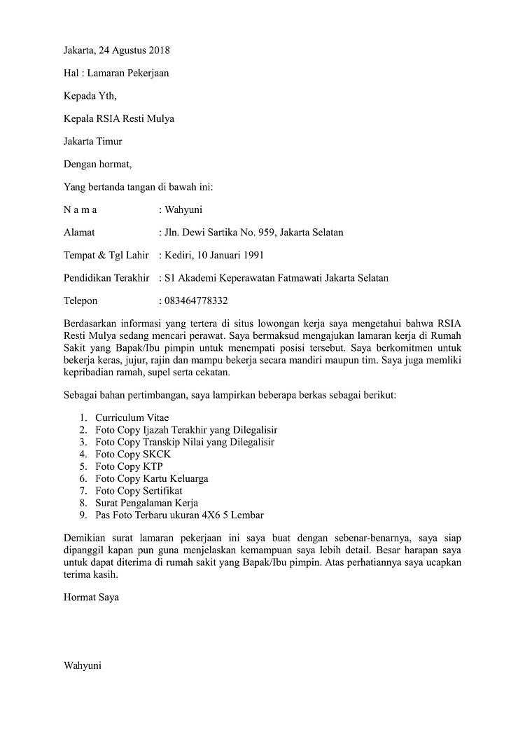 Contoh Surat Lamaran Kerja Perawat Di Rumah Sakit Yang Baik Dan