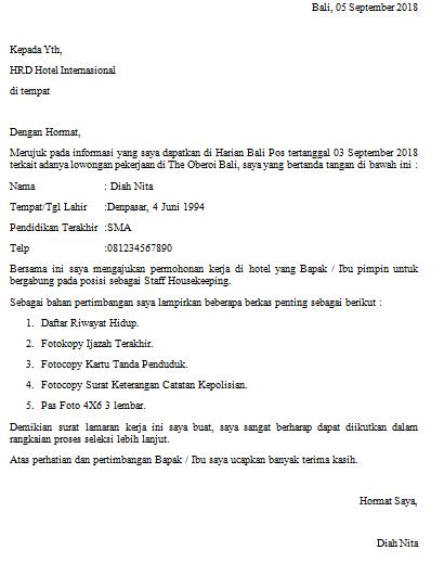 Contoh Surat Lamaran Kerja Di Hotel Untuk Berbagai Posisi Info
