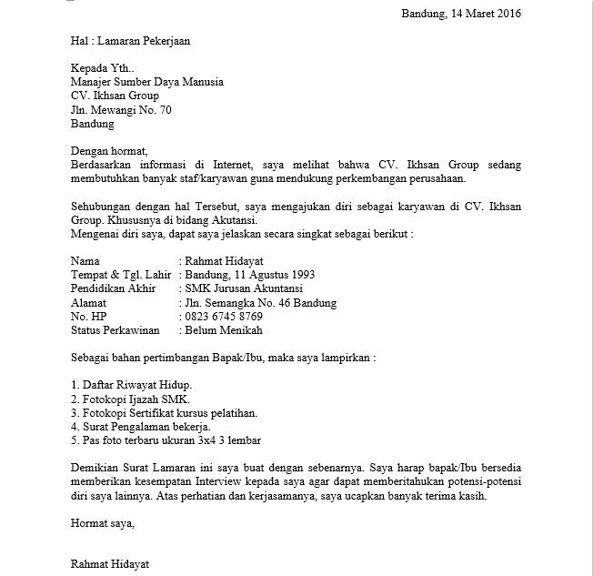 Format tulisan tangan pabrik contoh surat lamaran kerja di ...