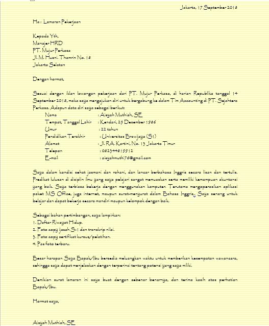 Contoh Surat Lamaran Kerja Tulis Tangan 2020 Khusus Pencari Kerja Tip Kerja
