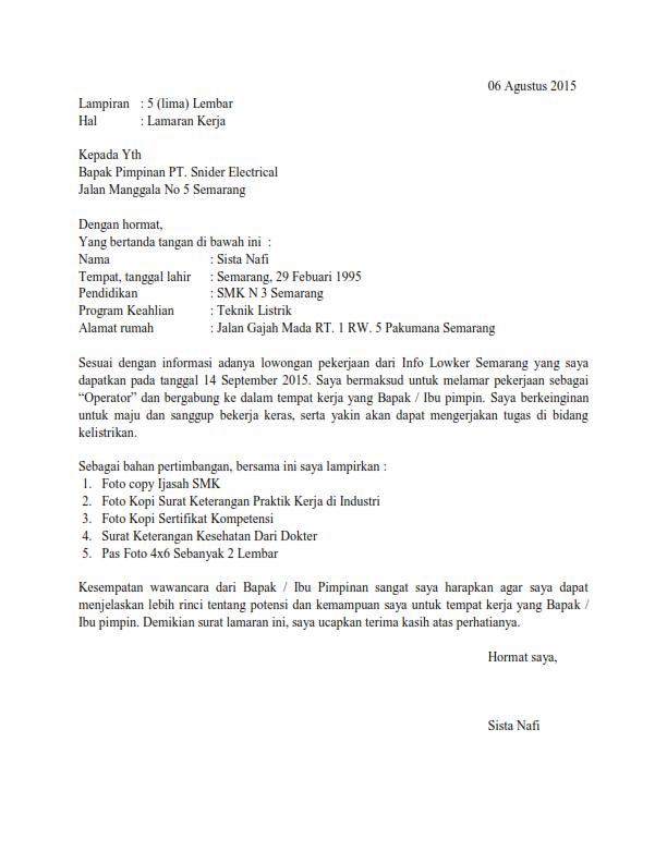 Contoh Surat Lamaran Kerja Di Pt Sebagai Karyawan Terlengkap