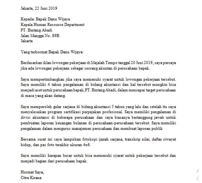 Surat Lamaran Kerja Bahasa Inggris Untuk Posisi Accounting