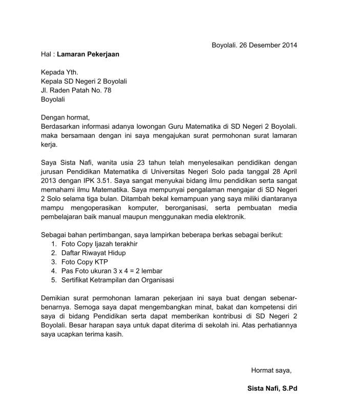 Surat Lamaran Kerja Guru SD
