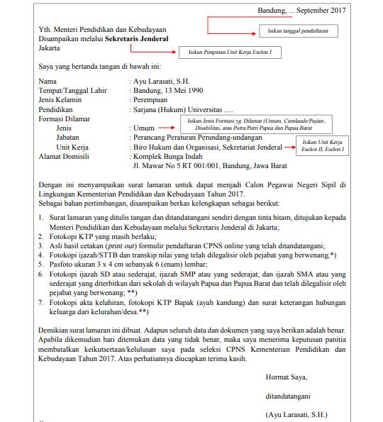 contoh surat lamaran kerja CPNS kemdikbud