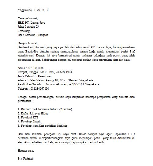 surat lamaran admin pt