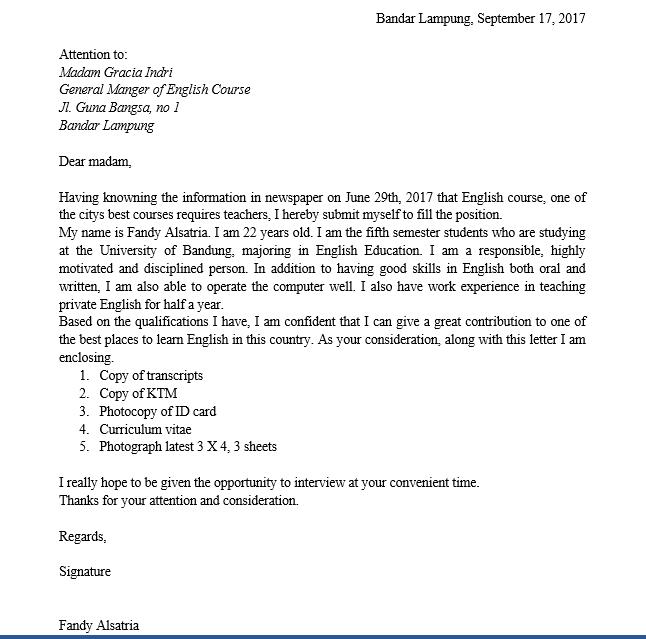contoh surat lamaran kerja guru bahasa inggris