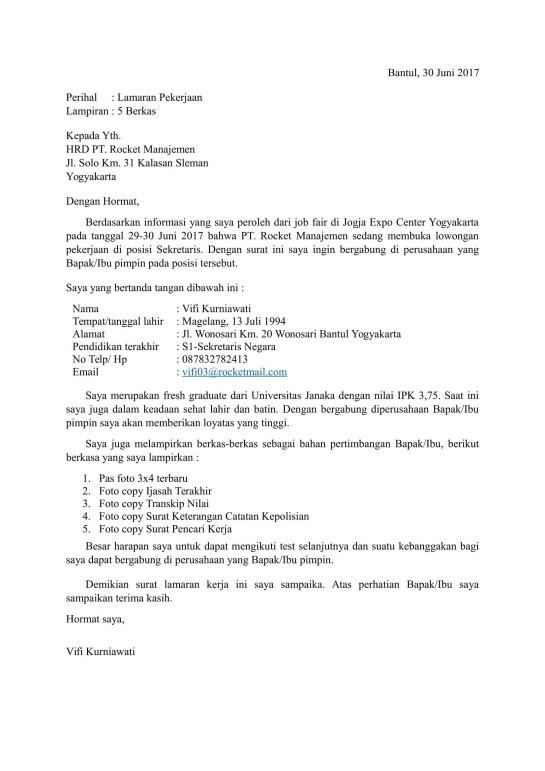 surat lamaran kerja sebagai sekretaris