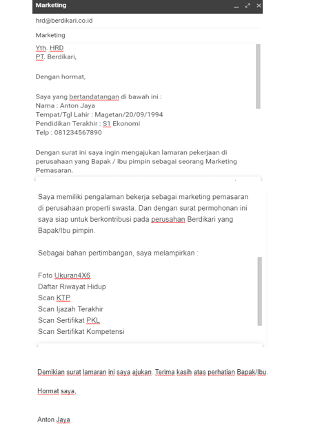 Contoh Surat Lamaran Kerja Via Email Beserta Lampirannya