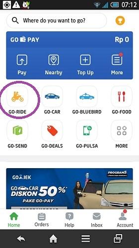 cara pesan Go-Ride