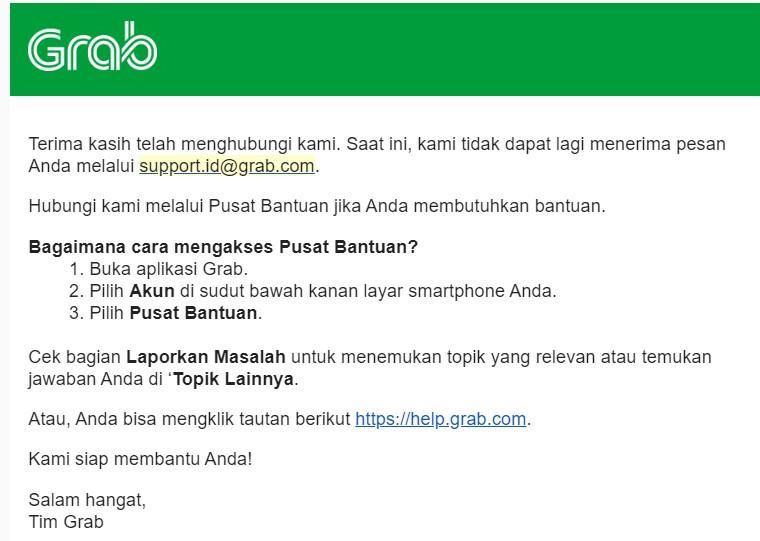 call center Grab indonesia