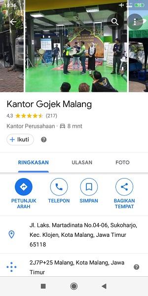 tiba di Gojek Malang