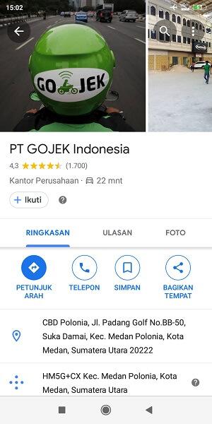alamat kantor Gojek Medan
