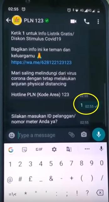 cara dapat listrik gratis via whatsapp