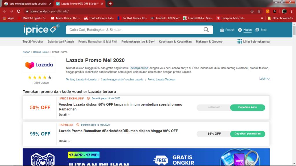halaman khusus lazada pada situs iprice