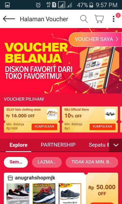 halaman voucher aplikasi lazada