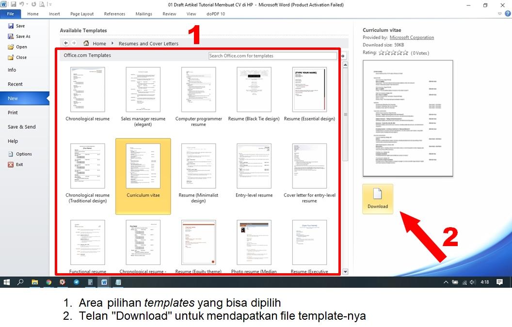 Contoh CV di Word Template